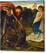 The Fight. St George Kills The Dragon Vi Canvas Print