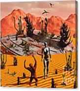 The First Man, Adam, Greeting An Alien Canvas Print