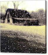 The First Snow Fall On The Old Barn Canvas Print