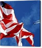 The Flag And The Blue Angels Canvas Print