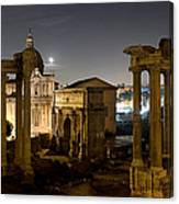The Forum Temples At Night Canvas Print
