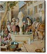 The Fountain At Toulon Canvas Print