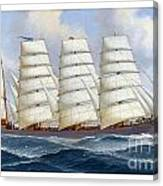 The Four-masted Barque Cedarbank At Sea Under Full Sail Canvas Print