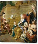 The Franqueville Family, 1711 Oil On Canvas Canvas Print
