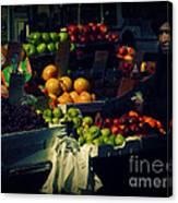 The Fruit Seller - New York City Street Scene Canvas Print