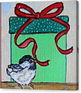 The Gift - Christmas Chickadee Whimsical Painting By Ella Canvas Print