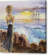 The Girl And The Ocean Canvas Print