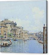 The Grand Canal With A View Of Palace Canvas Print