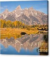 The Grand Tetons At Schwabacher Landing Grand Teton National Park Canvas Print