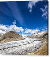The Great Aletsch Glacier And Deep Blue Sky Canvas Print