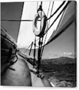 The Gunwale Of A Sailboat Canvas Print