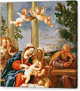 The Holy Family With St. Elizabeth And St. John The Baptist, C.1645-50 Oil On Copper Canvas Print