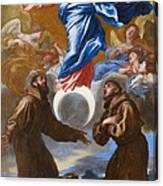 The Immaculate Conception With Saints Francis Of Assisi And Anthony Of Padua Canvas Print