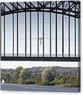 The Iron Railway Bridge Over The Rhine At Arnhem Netherlands Canvas Print