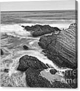 The Jagged Rocks And Cliffs Of Montana De Oro State Park In California In Black And White Canvas Print