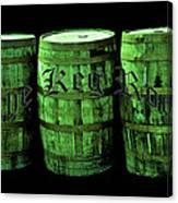 The Keg Room 3 Green Barrels Old English Hunter Green Canvas Print