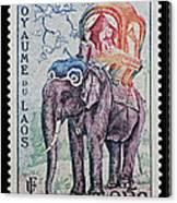 The King's Elephant Vintage Postage Stamp Print Canvas Print