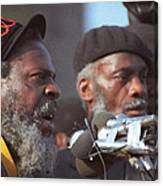 The Leaders Of A Local Antyracist Movement While Performing Their Speach During Toronto Riots 1992 Canvas Print