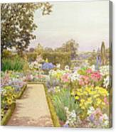 The Lily Border At Great Tangley Manor Canvas Print
