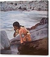 Little Girl And Ganga River Canvas Print