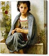 The Little Knitter Canvas Print
