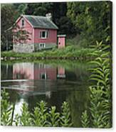 The Little Pink Cabin With Ripples Canvas Print