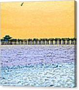 The Long Pier - Art By Sharon Cummings Canvas Print