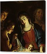The Madonna Adoring The Infant Christ Canvas Print