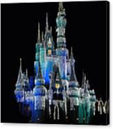 The Magic Kingdom Castle In Frosty Dark Blue Walt Disney World Canvas Print