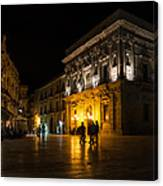 The Magical Duomo Square In Ortygia Syracuse Sicily Canvas Print