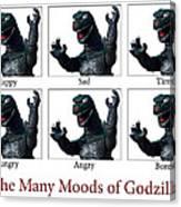 The Many Moods Of Godzilla Canvas Print