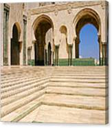 The Massive Colonnades leading to the Hassan II Mosque Sour Jdid Casablanca Morocco Canvas Print