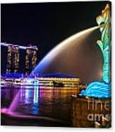 The Merlion Fountain And Marina Bay Sands - Singapore Canvas Print