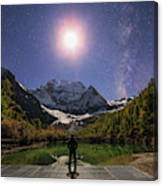 The Milky Way And Waxing Cresent Moon Canvas Print