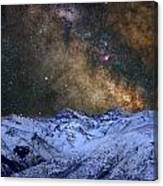 The Milky Way Over The High Mountains Canvas Print