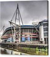 The Millennium Stadium With Flag Canvas Print