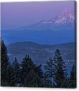 The Moon Beside Mt. Hood Canvas Print