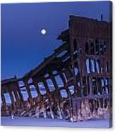 The Moon Sets Over The Wreck Canvas Print