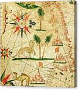 The North Coast Of Africa, From A Nautical Atlas, 1651 Ink On Vellum Canvas Print