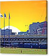 The Old And New Yankee Stadiums Side By Side At Sunset Canvas Print