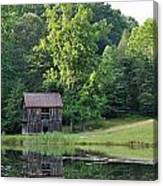 The Old Barn On The Pond Canvas Print