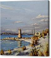 The Old Lighthouse At Rockaway Point Canvas Print