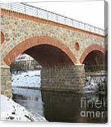 The Old Railway Bridge In Silute. Lithuania. Winter Canvas Print