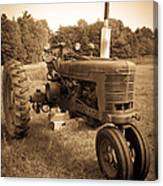 The Old Tractor Sepia Canvas Print