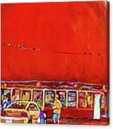 The Orange Julep Montreal Summer City Scene Canvas Print