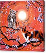The Owl And The Pussycat In Peach Blossoms Canvas Print