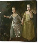 The Painter's Daughters Chasing A Butterfly Canvas Print