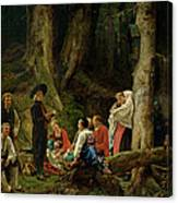 The Pilgrims From The Abbey Of St. Odile Oil On Canvas Canvas Print