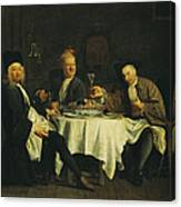 The Poet Alexis Piron 1689-1773 At The Table With His Friends, Jean Joseph Vade 1720-57 And Charles Canvas Print