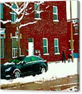 The Point Pointe St Charles Snowy Walk Past Red Brick House Winter City Scene Carole Spandau Canvas Print